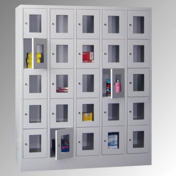Schließfachschrank - Sichtfenstertüren - 15 Fächer a 400 mm - 1.850x1.230x500 mm (HxBxT) - Sockel - Zylinderschloss - enzianblau online kaufen - Verwendung 9