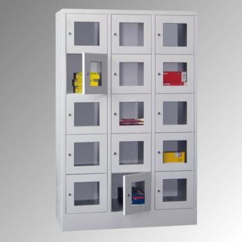 Schließfachschrank - Sichtfenstertüren - 15 Fächer a 400 mm - 1.850x1.230x500 mm (HxBxT) - Sockel - Zylinderschloss - enzianblau online kaufen - Verwendung 0