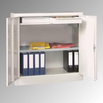Stahlschrank - Vollblechtür - Zylinderschloss - 1 Einlegeboden, 2 Schubladen - 1.000x1.000x500 mm (HxBxT) - lichtgrau/enzianblau