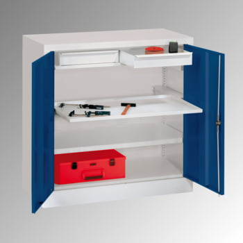 Stahlschrank - Vollblechtür - 1 Einlegeboden, 1 Ausziehboden, 2 Schubladen - 1.000x1.000x500 mm (HxBxT) - lichtgrau