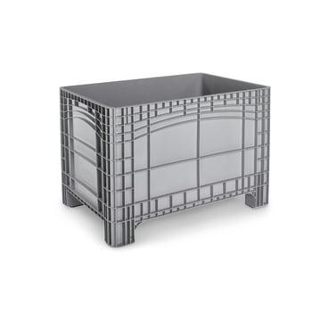PE Palettenbox - 550 l - 800 x 1.200 x 800 mm (HxBxT) - Wände geschlossen - grau