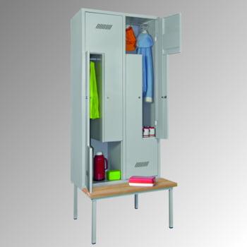 Z-Kleiderschrank m. Sitzbankuntergestell - Buchenleisten - 2.100x830x800 mm (HxBxT) - 4 Fächer - Drehriegel- lichtgrau/lichtblau