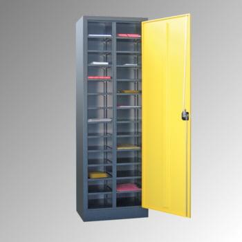 Ordnungsschrank - Vollblechtür - 26 Fächer - 1.950x640x400 mm (HxBxT) - lichtgrau/anthrazitgrau online kaufen - Verwendung 2