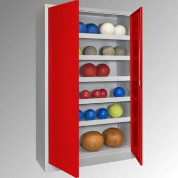Ballschrank - Vollblechtüren - 5 Böden - 1.950x1.200x500 mm (HxBxT) - lichtgrau/rubinrot