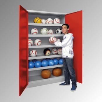 Ballschrank - Vollblechtüren - 5 Böden - 1.950x1.500x500 mm (HxBxT) - lichtgrau/rubinrot