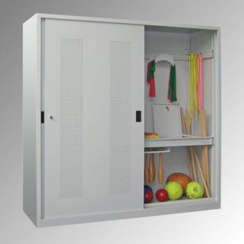 Ballschrank - Schiebetüren - Trennwand - 1.950x2.000x600 mm (HxBxT) - lichtgrau/enzianblau