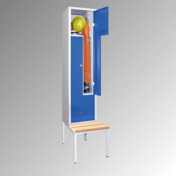 Z-Kleiderschrank m. Sitzbankuntergestell - Buchenleisten - 2.100x430x800 mm (HxBxT) - 2 Fächer - Drehriegel - lichtgrau/resedagrün