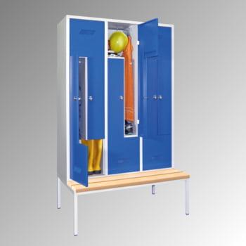 Z-Kleiderschrank m. Sitzbankuntergestell - Buchenleisten - 2.100x1.230x800 mm (HxBxT) - 6 Fächer - Drehriegel - lichtgrau