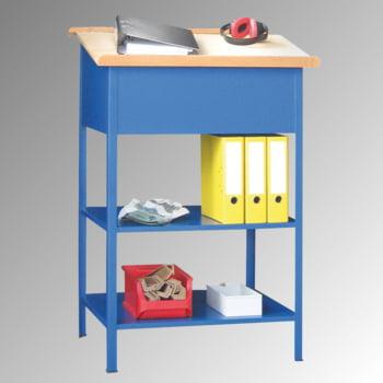 Stehpult - Pultaufsatz - 2 Böden - 1.200 x 700 x 600 mm (HxBxT) - enzianblau
