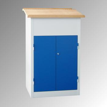 Stehpult mit Schrank - Vollblechtür - Zylinderschloss - 2 Böden - 1.200 x 700 x 600 mm (HxBxT) - lichtgrau/enzianblau