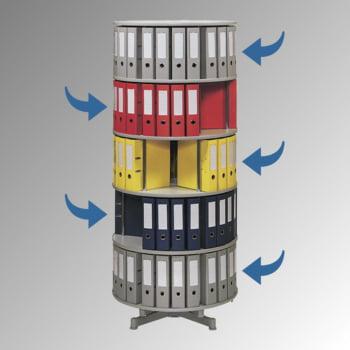 Ordnerdrehsäule, Aktenrondell, 120 Ordner, 5 Etagen, 1.920 x 810 mm (HxB), einzeln drehbar, Ordnerrondell, Aktensäule, Ordnerkarussell, Hellgrau