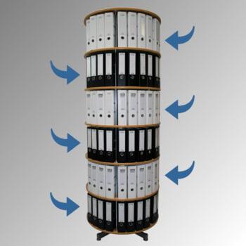 Ordnerdrehsäule, Aktenrondell, 144 Ordner, 6 Etagen, 2.280 x 810 mm (HxB), einzeln drehbar, Ordnerrondell, Aktensäule, Ordnerkarussell, Hellgrau