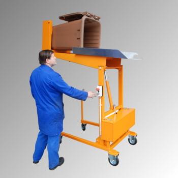 Mülltonnen-Kippstation - Tragkraft 110 kg - elektrisch 230 Volt - lichtblau