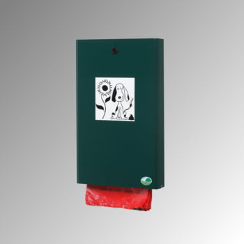 Hundekotbeutelspender - für 200 Beutel - Wand- oder Pfostenbefestigung - moosgrün