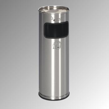Abfalleimer mit Ascher - Edelstahl - Volumen 17 l - 660 x 230 x 230 mm (HxBxT) - Aschereinsatz Edelstahl