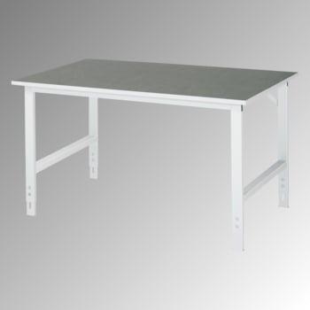 Arbeitstisch - Linoleum Arbeitsplatte - Tragkraft 500 kg - Höhe 760-1.080 mm - 1.500 x 800 mm (BxT) - lichtgrau