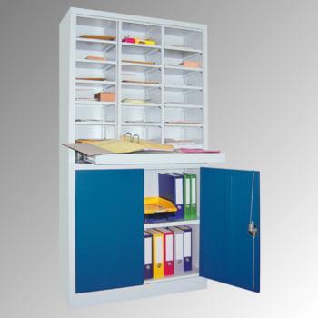 Aktenschrank - Büroschrank mit Sortierstation - 18 Fächer Ordnungsregal - Ausziehboden - 1.950 x 1.000 x 400 mm (HxBxT) - lichtgrau/enzianblau