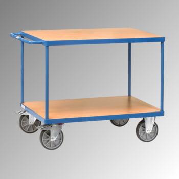 Fetra - Tischwagen - 600 kg - Ladefläche 600 x 1.000 mm - 2 Etagen - Holzböden - Griff waagerecht