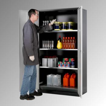 Chemikalienschrank - Flügeltüren, verkehrsrot - 3 Fachböden - Lochblecheinsatz - 1.950 x 1.055 x 520 mm (HxBxT) - Stahl, verzinkt