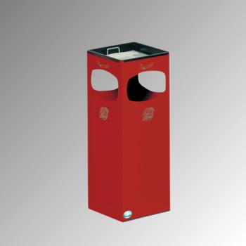 Abfalleimer mit Ascher - Volumen 29 l - eckig - 660 x 250 x 250 mm (HxBxT) - feuerrot