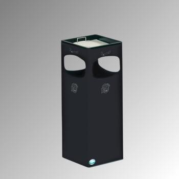 Abfalleimer mit Ascher - Volumen 29 l - eckig - 660 x 250 x 250 mm (HxBxT) - schwarzgrau