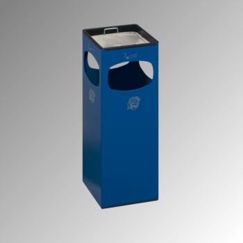 Abfalleimer mit Ascher - Volumen 29 l - eckig - 660 x 250 x 250 mm (HxBxT) - enzianblau