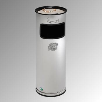 Abfalleimer mit Ascher - Edelstahl - Volumen 17 l - 660 x 230 x 230 mm (HxBxT) - Aschereinsatz Stahl, schwarz