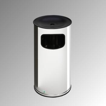 Abfallsammler - schwarzer Ascheraufsatz - rund - Volumen 44 l - 710 x 355 x 355 mm (HxBxT) - Edelstahl