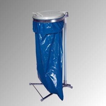 Müllsackständer - für einen 120 l Sack - 980 x 500 x 530 mm (HxBxT) - verzinkt - Deckel Kunststoff, silber