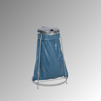 Müllsackständer - für 1 Kunststoffsack - 960 x 600 x 600 mm (HxBxT) - verzinkt - Deckel Kunststoff