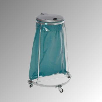 Müllsackständer - fahrbar - für 1 Kunststoffsack - 980 x 640 x 640 mm (HxBxT) - verzinkt - Deckel Kunststoff