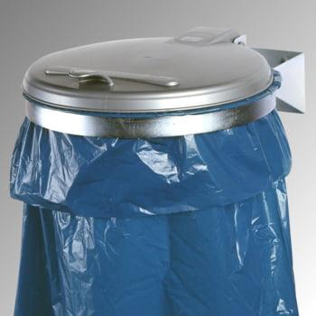 Müllsackhalter zur Wandmontage - für einen 120 l Sack - 400 x 510 mm (BxT) - verzinkt - Deckel Kunststoff, silber online kaufen - Verwendung 0