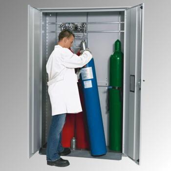Druckgasflaschenschrank, für Außenbereich, Edelstahlsockel, 5 Flaschenplätze, Türen mit Fenster, 2.149 x 1.356 x 400 mm (HxBxT), Farbe lichtgrau