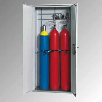 Druckgasflaschenschrank für Außenbereich, Edelstahlsockel, 3 Flaschenplätze, Türen mit Klappfenster, 2.149 x 1.006 x 400 mm (HxBxT), Farbe lichtgrau