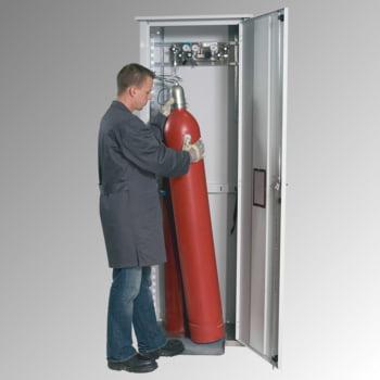 Druckgasflaschenschrank für Außenbereich, Edelstahlsockel, 2 Flaschenplätze, Tür mit Klappfenster, 2.149 x 706 x 400 mm (HxBxT), Farbe lichtgrau