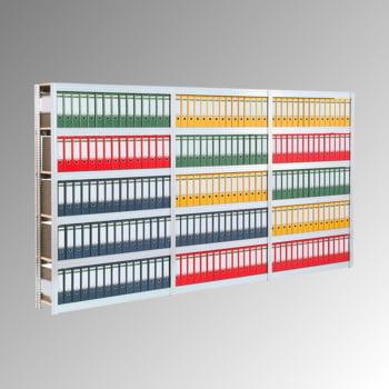 Aktenregal mit Holzböden - Tiefenriegel - 7 Ebenen - 250 kg - 2.500 x 1.005 x 300 mm (HxBxT) - Grundregal - verzinkt