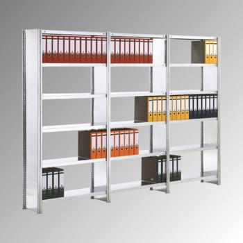 Aktenregal mit Holzböden - Seitenwände - 7 Ebenen - 250 kg - 2.500 x 875 x 300 mm (HxBxT) - Anbauregal - verzinkt