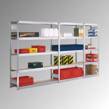 Fachbodenregal mit Tiefenriegel - Holzböden - 350 kg - (HxBxT) 2.000 x 1.695 x 400 mm - Grundregal - verzinkt