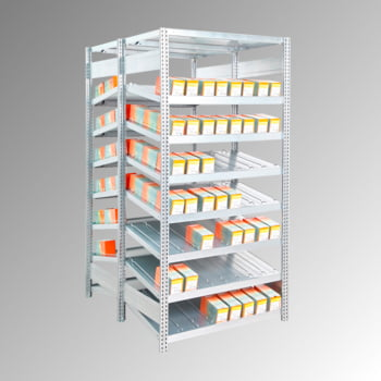 Schrägbodenregal, doppelseitig - 250 kg - 2.000 x 1.005 x 1.052 mm (HxBxT) - Anbauregal - verzinkt