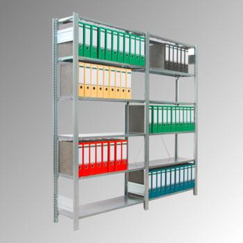 Fachbodenregal mit Tiefenriegel - 80 kg - (HxBxT) 2.000 x 1.285 x 300 mm - Anbauregal - verzinkt