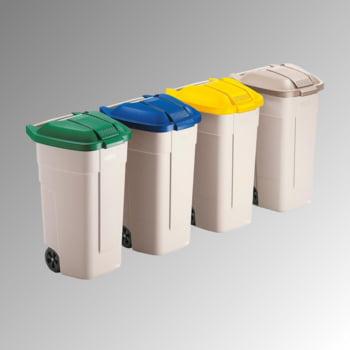 Mülltonnen mit Rädern - Volumen 100 l - 800 x 515 x 525 mm (HxBxT) - Behälter beige - Deckel schwarz