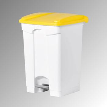 Wertstoffsammler aus Kunststoff - Volumen 45 l - 600 x 410 x 390 mm (HxBxT) - Behälter weiß - Deckel gelb