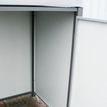 Mülltonnenverkleidung mit Pflanzdach - für 3 Tonnen - 2/3 Stanzung - 1.215 x 1.960 x 830 mm (HxBxT) - Korpus weißaluminium - Pfosten Eisenglimmer online kaufen - Verwendung 5