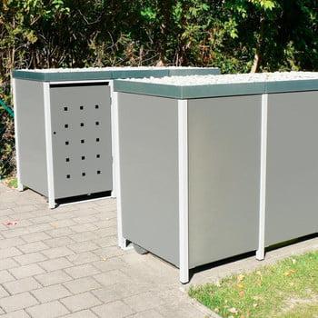 Mülltonnenverkleidung mit Pflanzdach - für 3 Tonnen - 2/3 Stanzung - 1.215 x 1.960 x 830 mm (HxBxT) - Korpus weißaluminium - Pfosten Eisenglimmer online kaufen - Verwendung 9