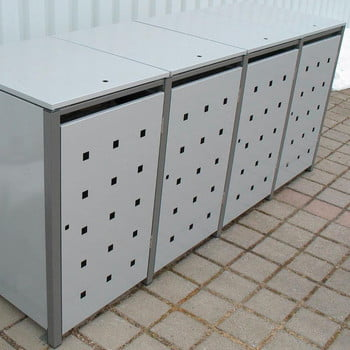 Mülltonnenverkleidung mit Klappdach - für 4 Tonnen - 3/5 Stanzung - 1.160 x 2.600 x 830 mm (HxBxT) - Korpus weißaluminium - Pfosten Signalgrau