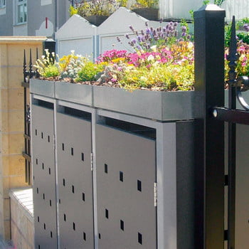Mülltonnenverkleidung mit Pflanzdach - für 4 Tonnen - 2/3 Stanzung - 1.215 x 2.600 x 830 mm (HxBxT) - Korpus graualuminium - Pfosten Eisenglimmer