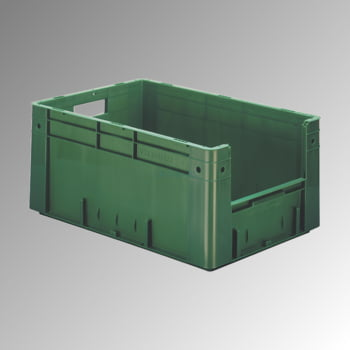 Schwerlast Eurobox - Eurokiste - Volumen 50 l - Boden und Wände geschlossen, mit Eingriff - 270 x 400 x 600 mm (HxBxT) - VE 2 Stk. - grau