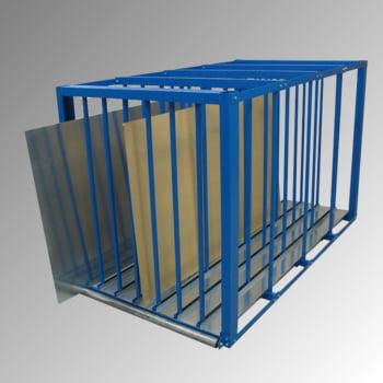 Blechlagerbox - Fachhöhe 1.400 mm - Fachlast 1.000 kg - 1.500 x 1.100 x 2.500 mm (HxBxT) - capriblau