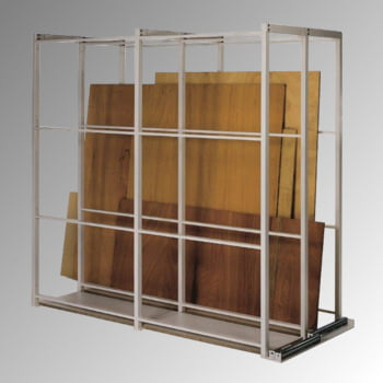 Plattenlager Regal - Grundregal, 2 Fächer - Fachbreite 400 mm - Anlaufrollen - 2.285 x 920 x 2.500 mm (HxBxT) - reinweiß