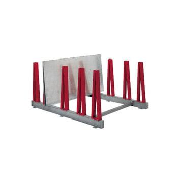 Plattenlager Regal - Grundregal - 4 Fächer - Fachbreite 200 mm - Fachlast 800 kg - 1.040 x 1.800 x 1.800 mm (HxBxT) - feuerrot